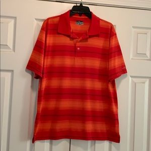 Orange striped polo shirt
